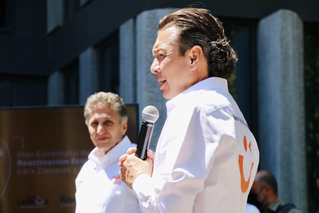 Pablo Lemus Navarro, candidato a la presidencia municipal de Guadalajara, y Juan José Frangie, candidato a la presidencia municipal de Zapopan, en la presentación del Plan Estratégico de Reactivación Económica.